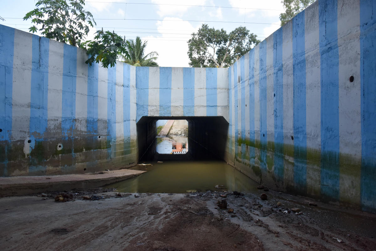 Stagnant water in the underpass at Muthyalamma Nagar, Mathikere.