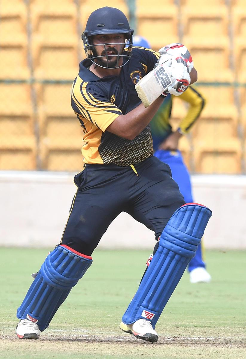 BLAZING KNOCK Punjab's Anmolpreet Singh en route to his 138 against Karnataka on Monday. DH Photo/ Srikanta Sharma R