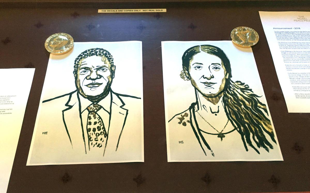 Drawings of the Nobel Peace Prize winners Denis Mukwege and Nadia Murad are displayed in Oslo, Norway. REUTERS