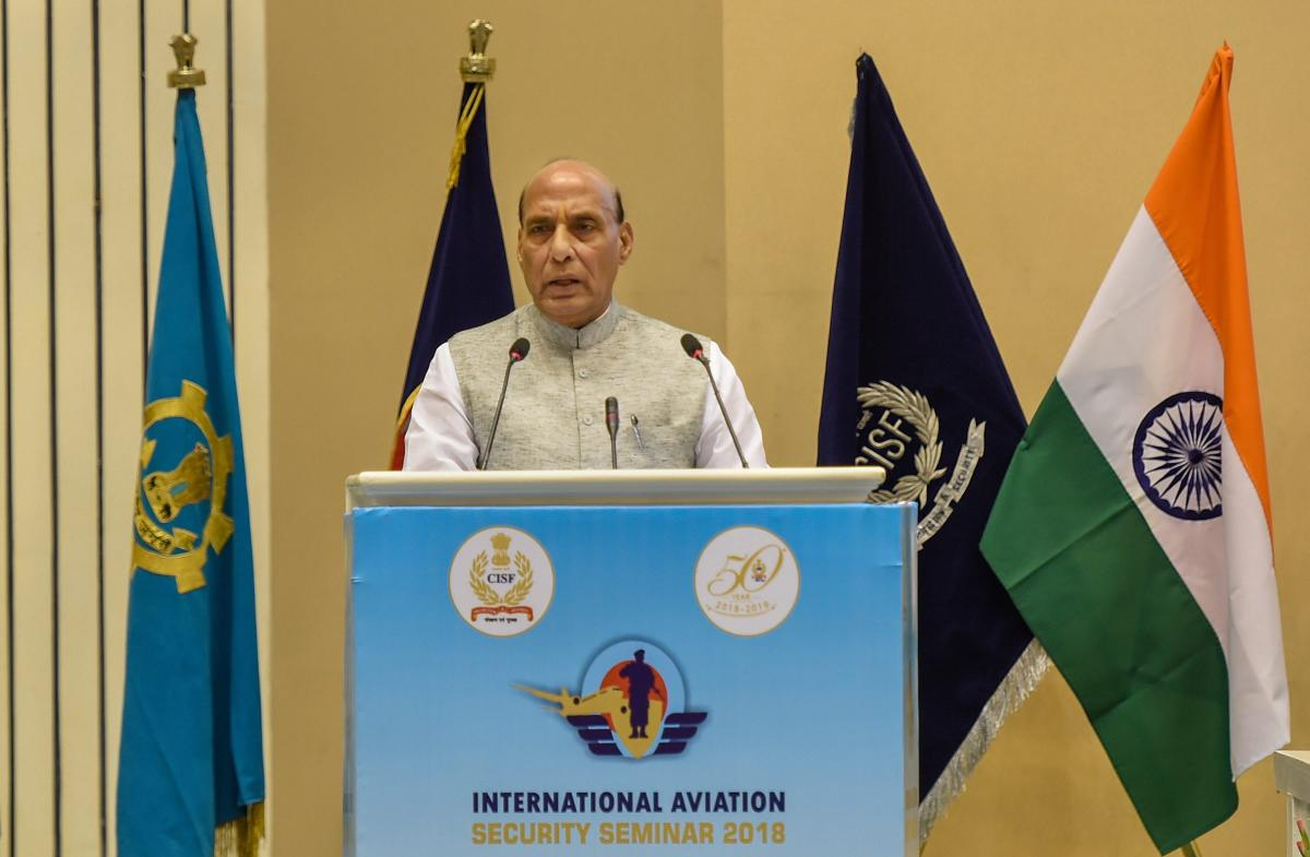 Union Home Minister Rajnath Singh addresses the International Aviation Security Seminar 2018 in New Delhi on Tuesday. PTI