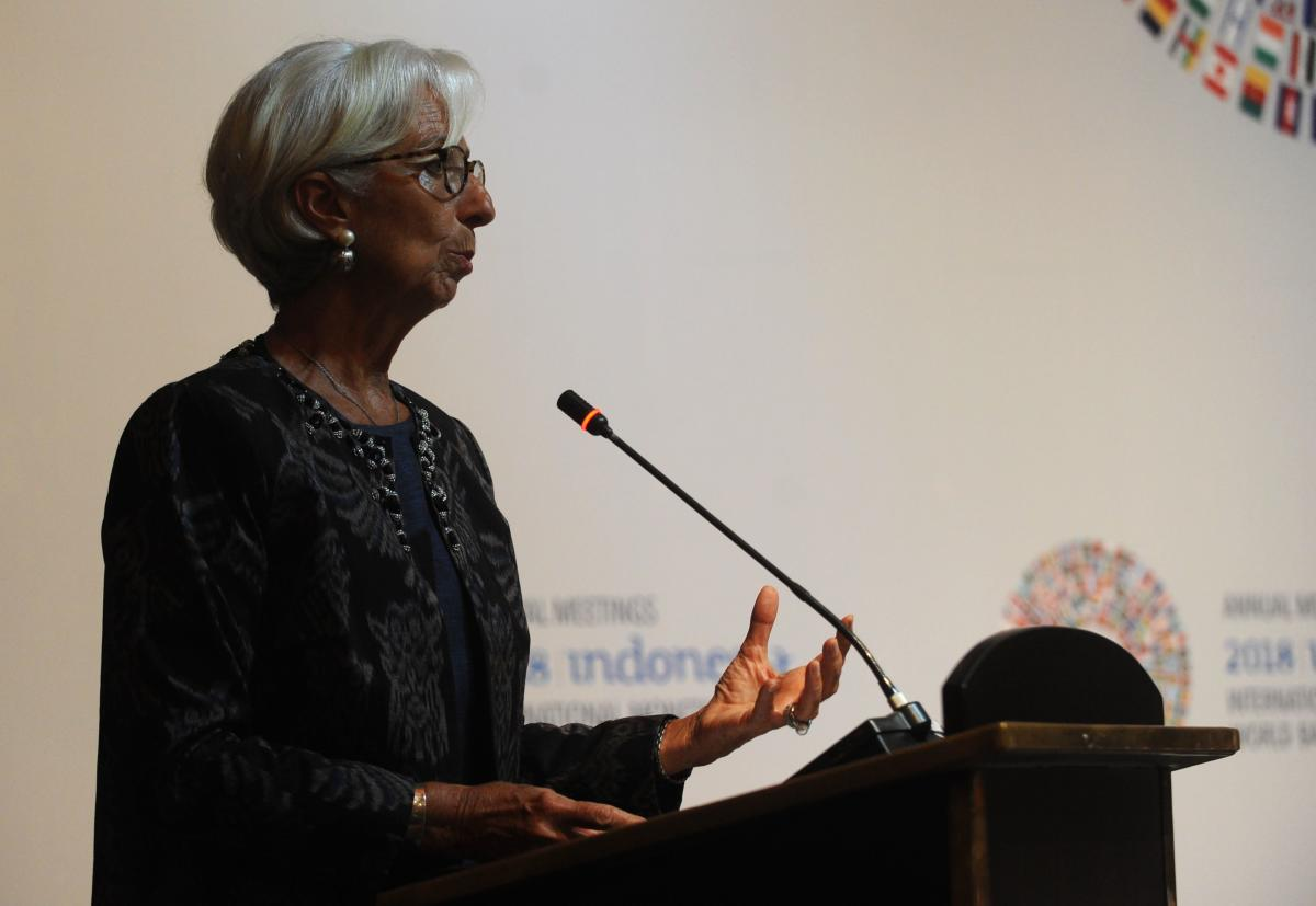 Managing director of the International Monetary Fund (IMF), Christine Lagarde, speaks during a trade conference introduction at the International Monitary Fund (IMF) and World Bank annual meetings in Nusa Dua on Indonesia's resort island of Bali on October 10, 2018. (AFP Photo)