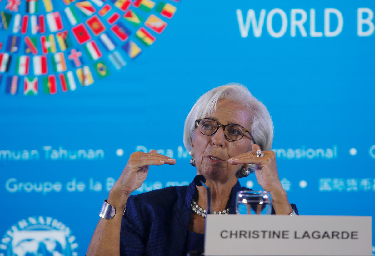 IMF Managing Director Christine Lagarde speaks during International Monetary Fund - World Bank Annual Meeting 2018 in Nusa Dua, Bali, Indonesia, October 11, 2018. (REUTERS)