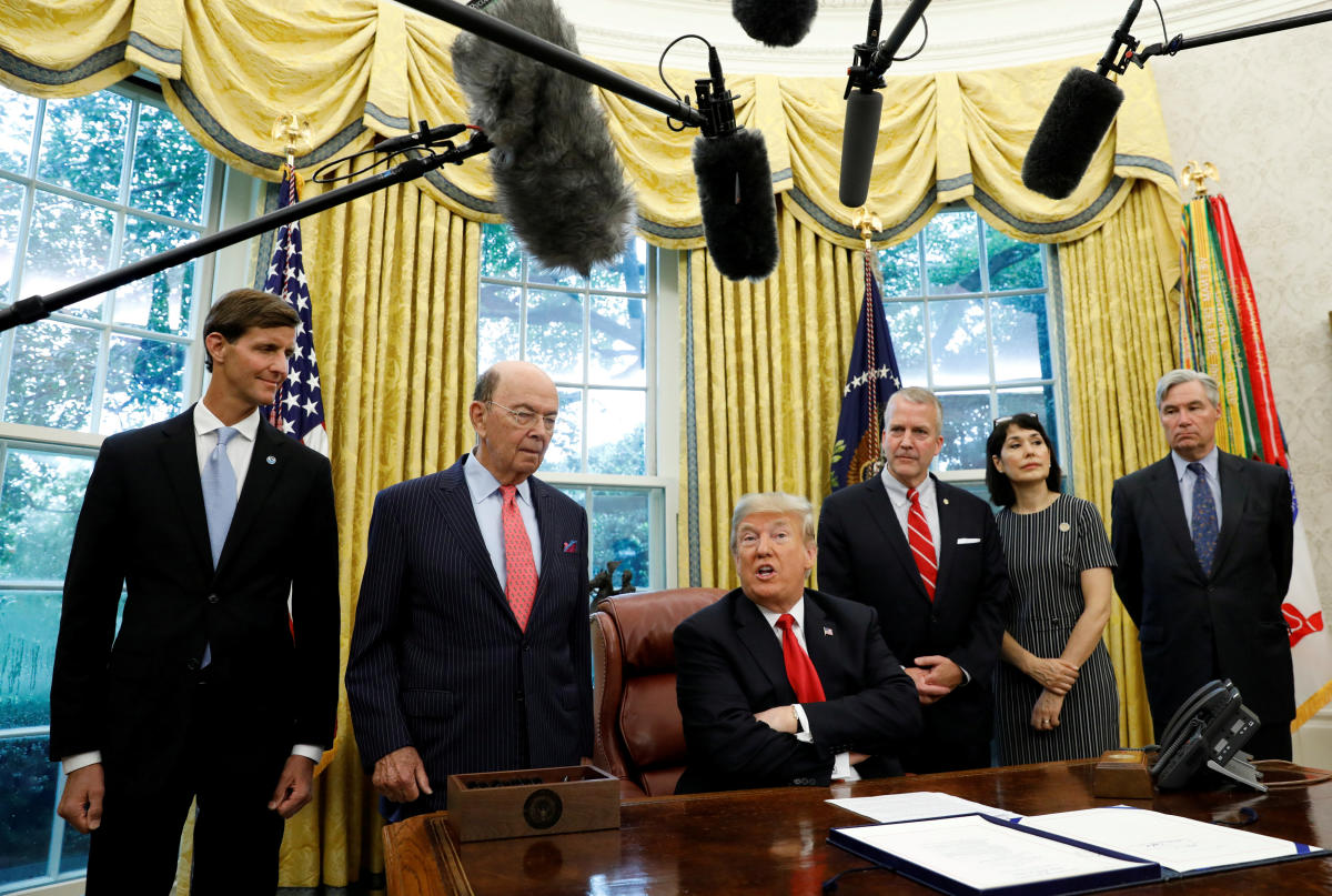 """U.S. President Donald Trump speaks about Hurricane Michael prior to signing the """"Save Our Seas Act of 2018"""" at the White House in Washington, U.S., October 11, 2018. (REUTERS)"""