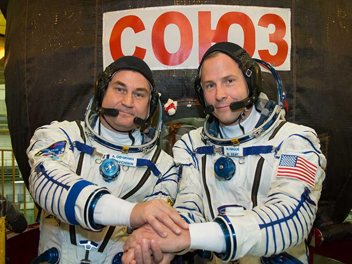 Russian cosmonaut Aleksey Ovchinin and US astronaut Nick Hague. Image courtesy Space Station/NASA Blogs Home