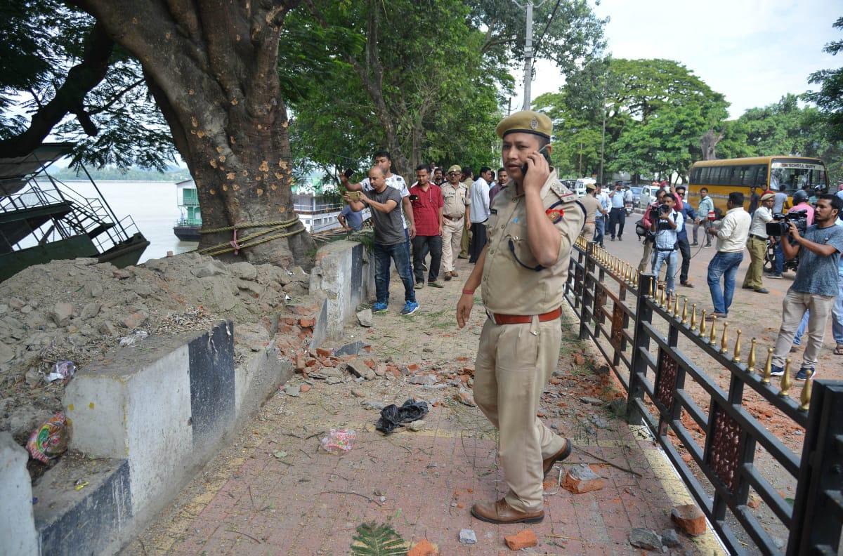 Site of bomb blast in Guwahati on Saturday. (Photo by Manash Das/Guwahati)