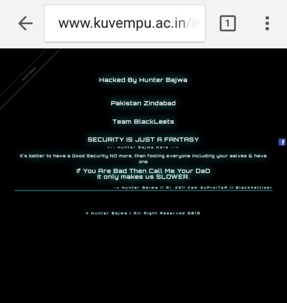 A message that reads 'Pakistan zindabad' posted on Kuvempu University official website that was hacked.
