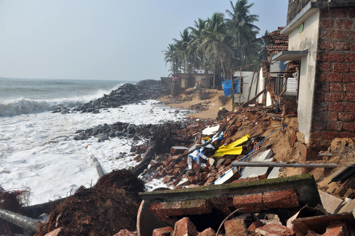 The house of Zohara Rahim was damaged in the sea erosion, at Kaiko.