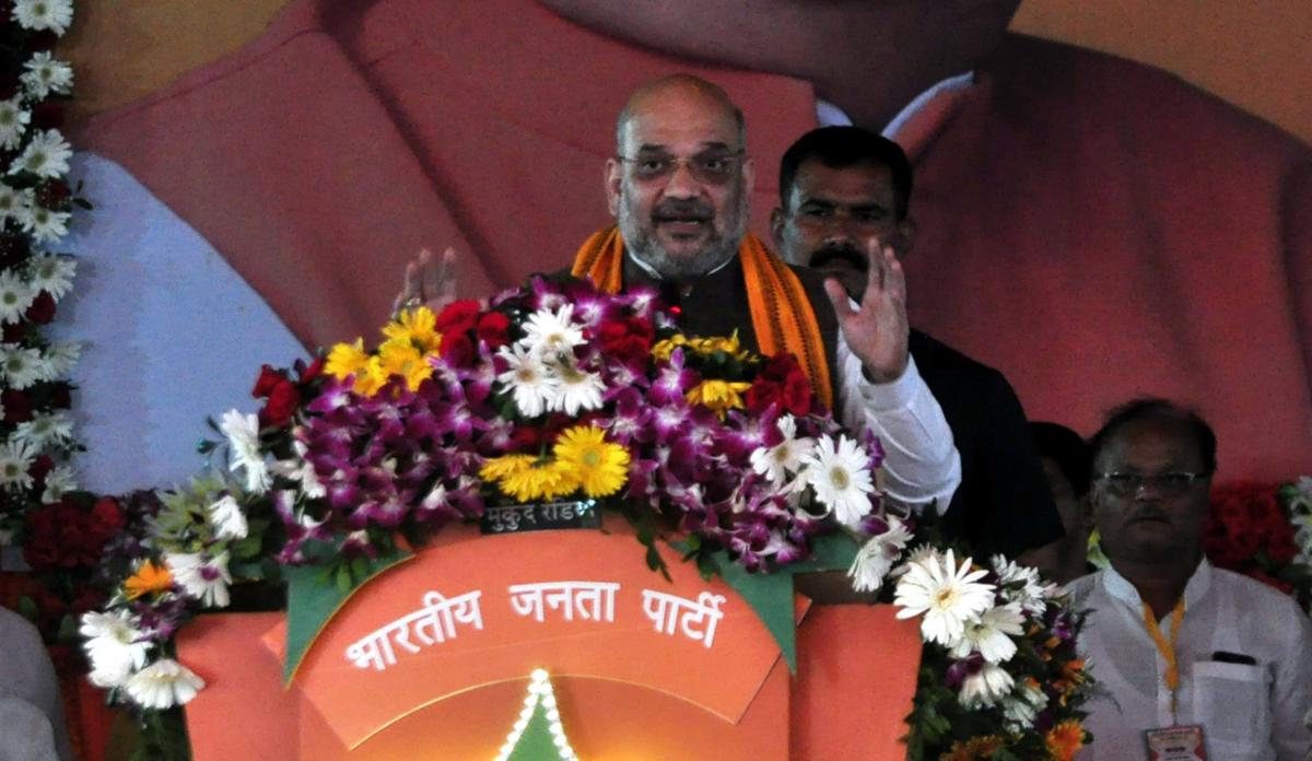 BJP chief Amit Shah addresses an election rally in Bilaspur, Chhattisgarh on Saturday.