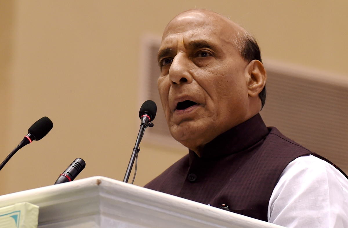 New Delhi: Home Minister Rajnath Singh addressing at the silver jubilee celebration of National Human Right Commission, in New Delhi, Friday, Oct 12, 2018. (PTI Photo/Atul Yadav) (PTI10_12_2018_1000182B)