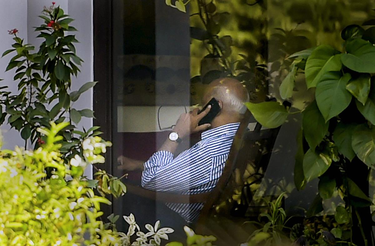 Union minister M J Akbar, who is facing allegations of sexual harassment by a number of women journalists, at his residence after his arrival from a foreign tour, in New Delhi, Sunday, Oct 14, 2018. (PTI Photo)