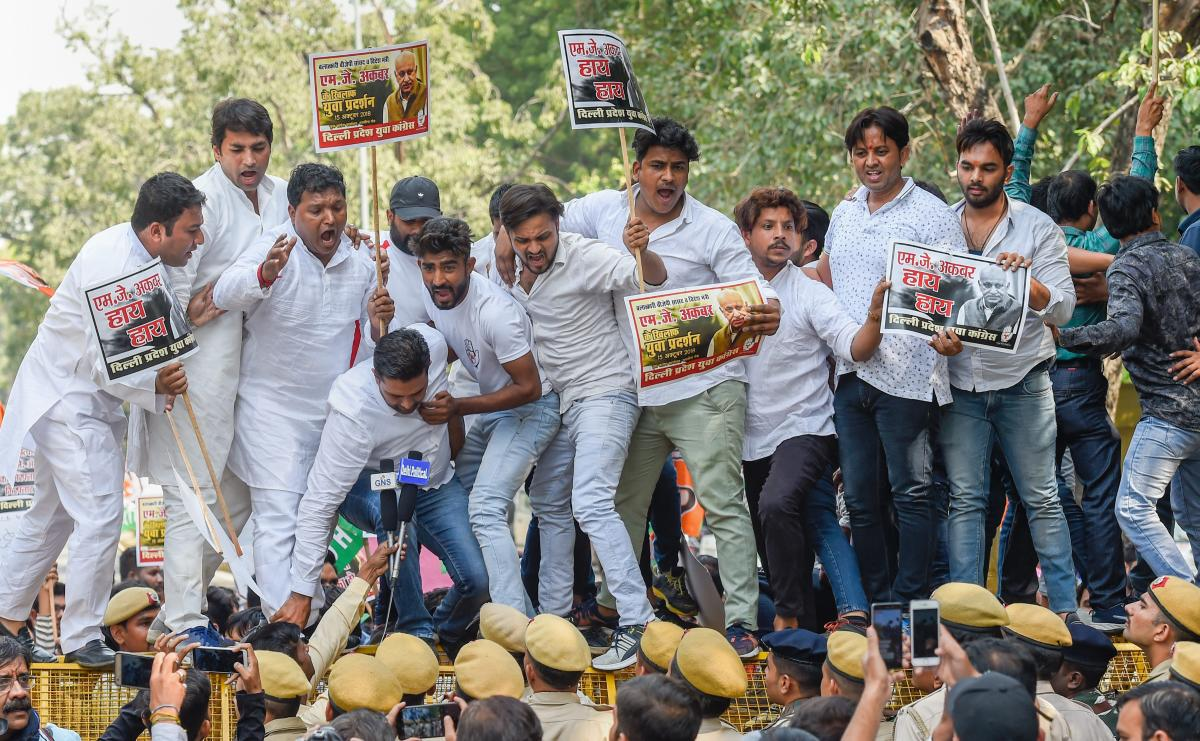 Delhi Pradesh Youth Congress members protest against MoS for External Affairs, M J Akbar for his reported sexual misconduct and harassment of women journalists, in New Delhi on Monday. PTI