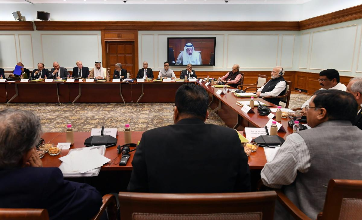 Prime Minister Narendra Modi during a meeting with the CEOs and experts from Oil and Gas sector, from India and abroad, in New Delhi. (PTI Photo)