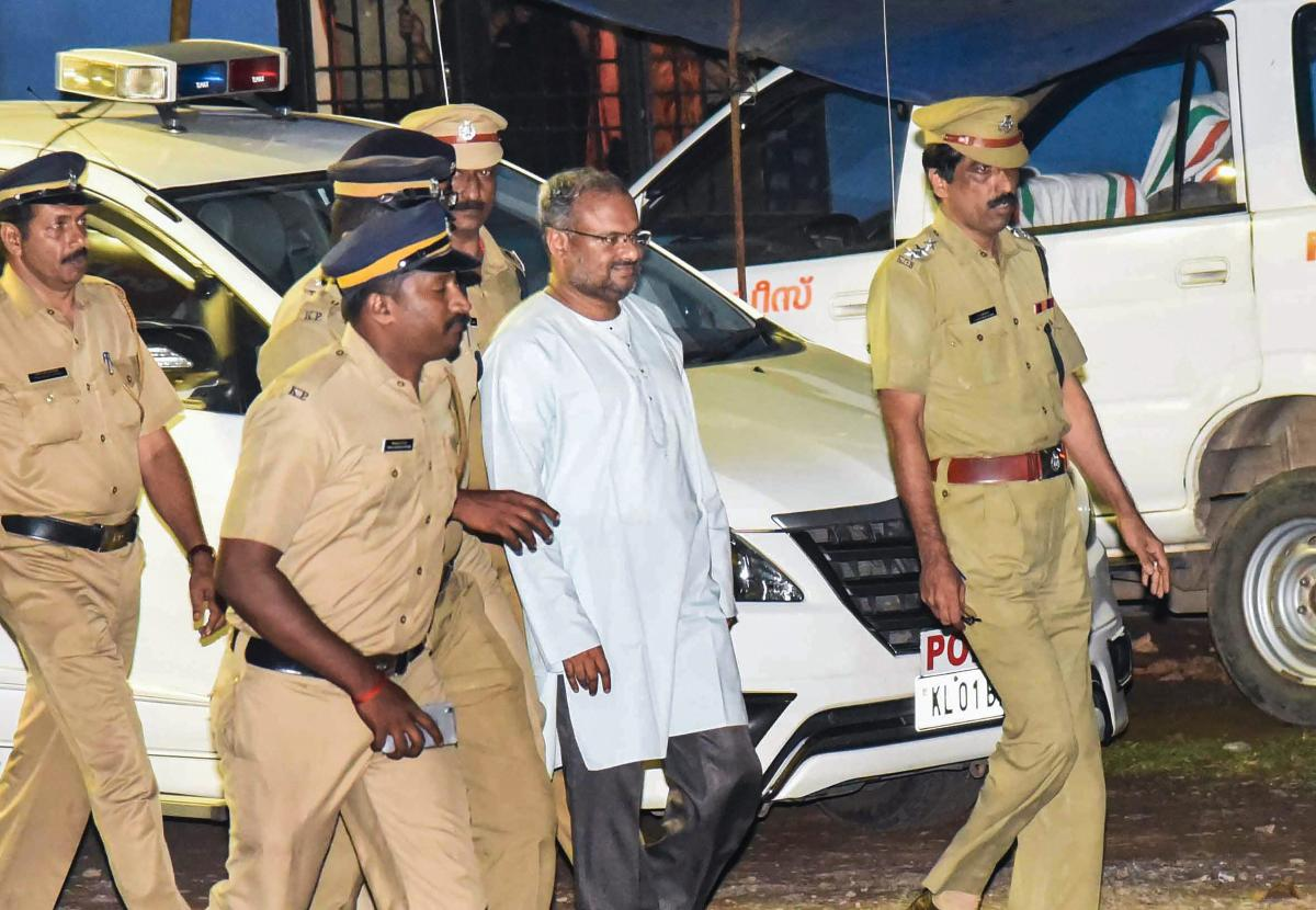 Rape accused Bishop Franco Mulakkal after being arrested by the Kerala police in Thrippunithura on Friday. (PTI photo)