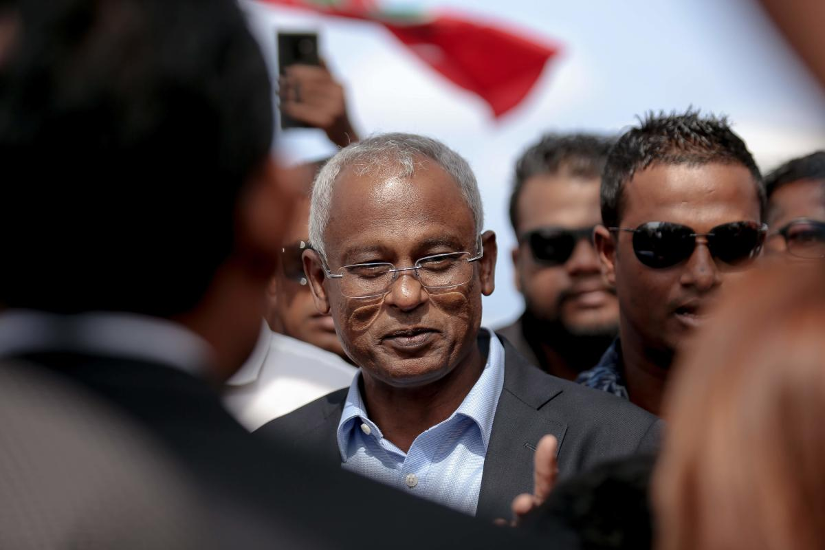 Maldives President-elect Ibrahim Mohamed Solih at Velana International Airport in Male on October 4, 2018. AFP