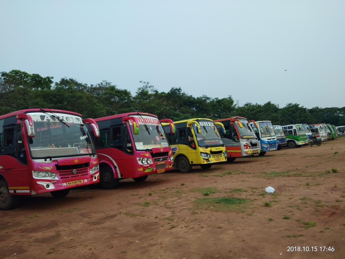 Buses seized for use of shrill horns were parked at Nehru Maidan in Mangaluru on Monday.
