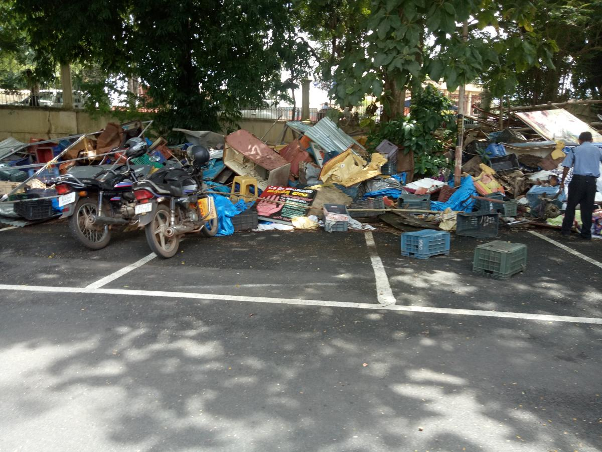Waste dumped on the Town Hall premises in Mangaluru.