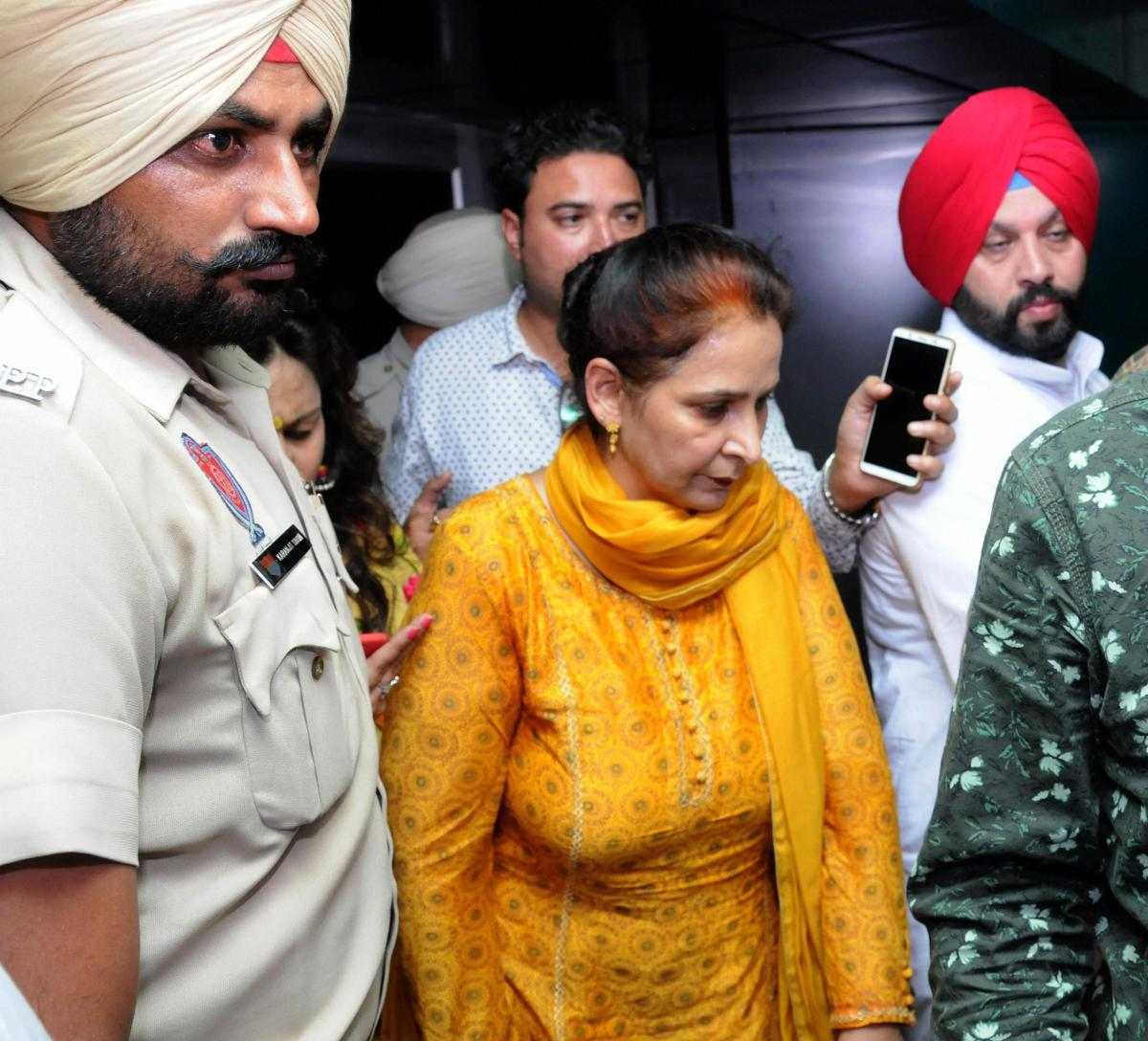 Amritsar: Navjot Kaur Sidhu, wife of Punjab minister of Tourism, Cultural Affairs comes out of a hospital after enquiring about the well being of train accident victims, in Amritsar, Friday, Oct 19, 2018. (PTI Photo)