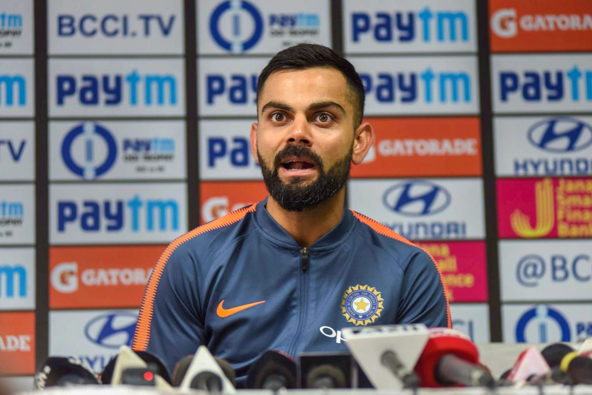 Virat Kohli addresses a press conference in Guwahati ahead of the ODI series against the West Indies. PTI
