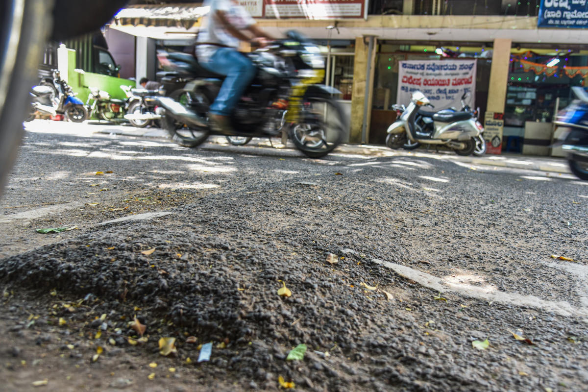 Road Humps at Gandhi bazaar in Bengaluru. Photo by S K Dinesh