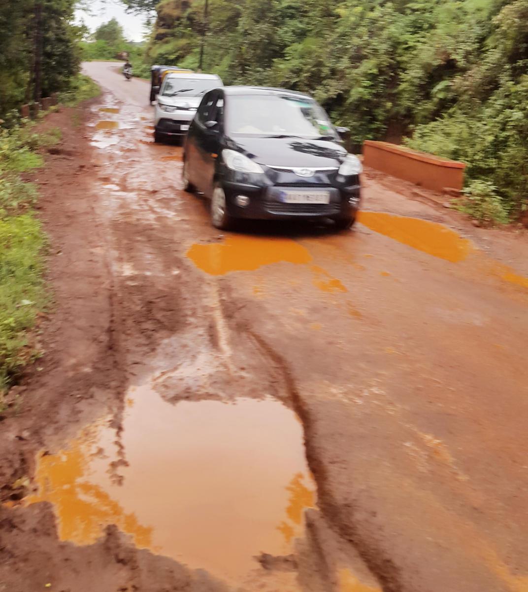 The pothole filled road in Chikkamagaluru.