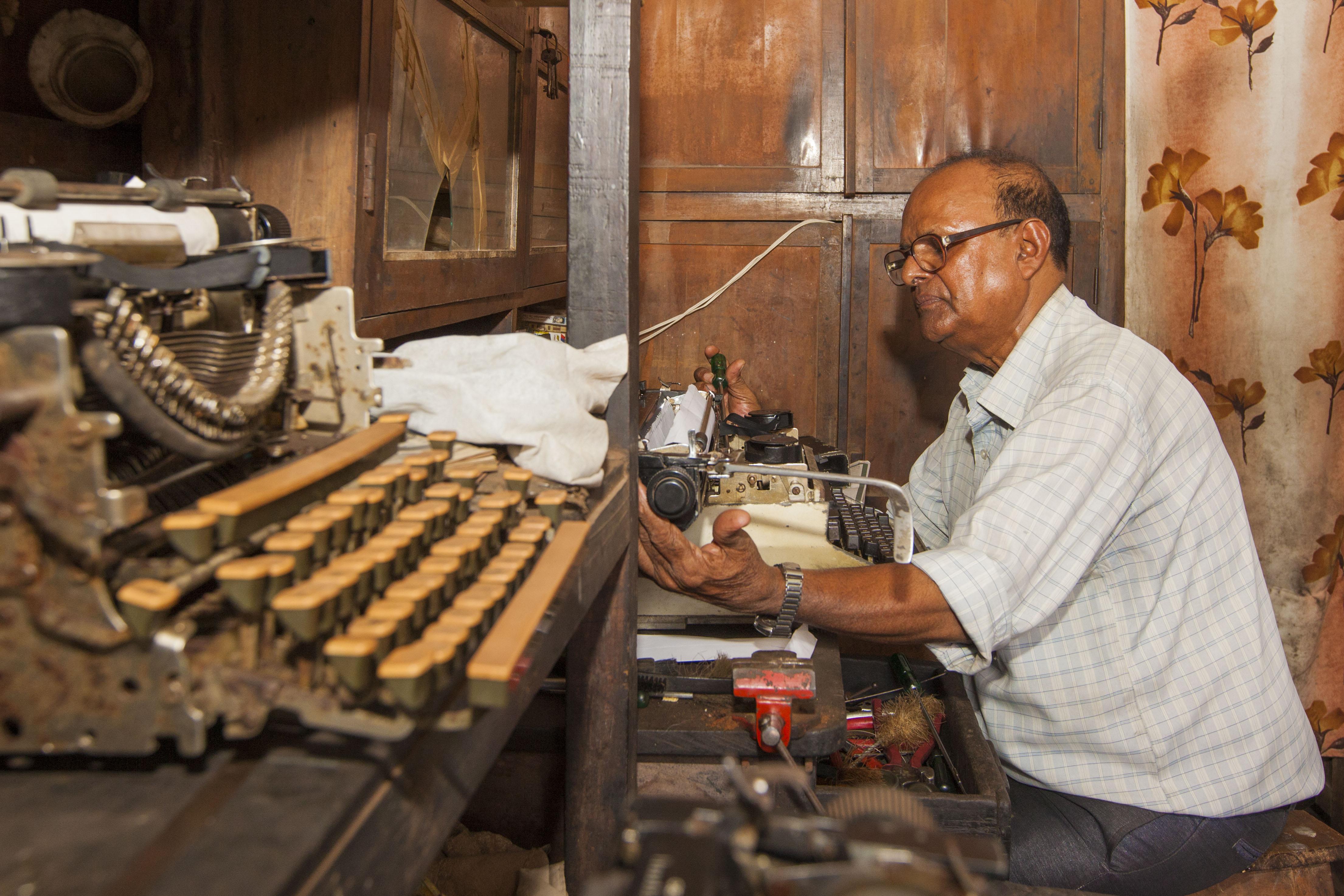 Erasmo Coutinho in his shop Rosmos Typewriters, Goa.