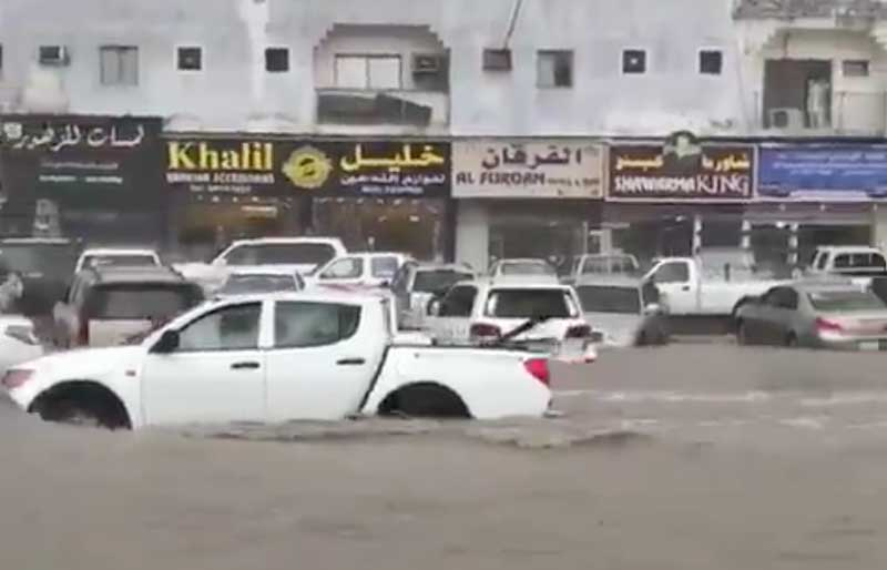 Social media in Qatar showed cars almost completely submerged underwater, after thunderstorms over Doha. (Videograb/Twitter)