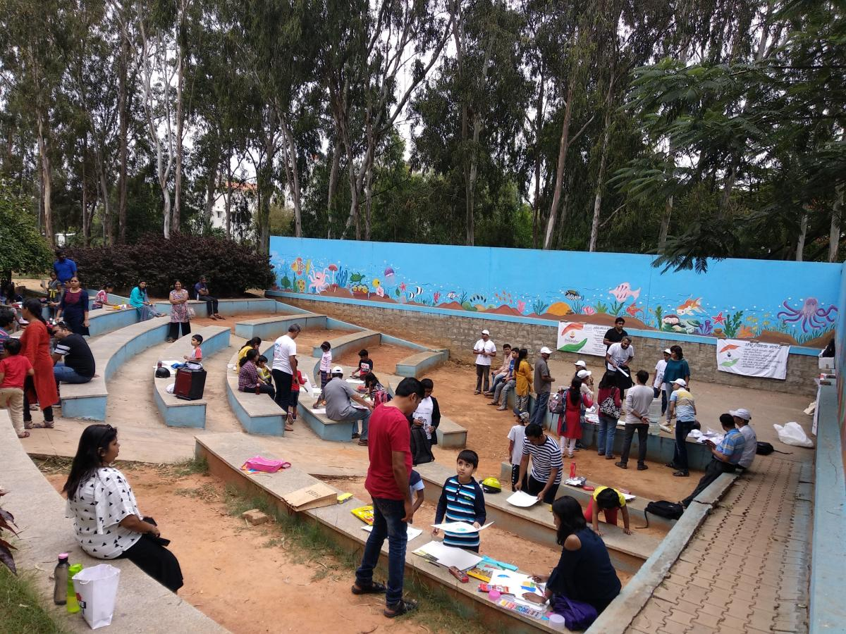 Over 50 children produced artwork around the themes of roads, mobility, water and general infrastructure, highlighting the pitiable condition of the Bellandur ward on Sunday.