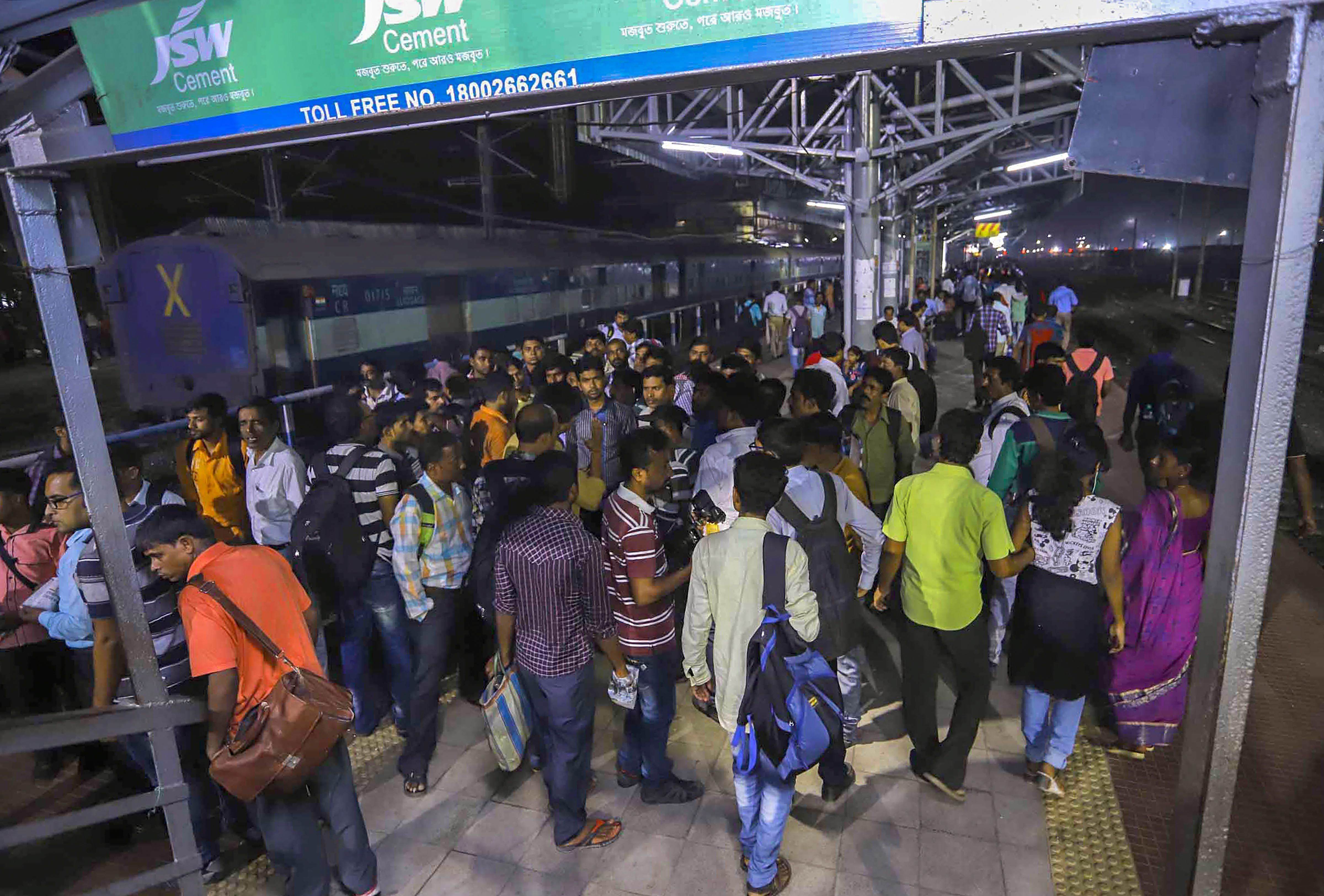 Passengers at a platform at Santragachi station where a stampede took place, in Howrah district of West Bengal, on Tuesday. PTI