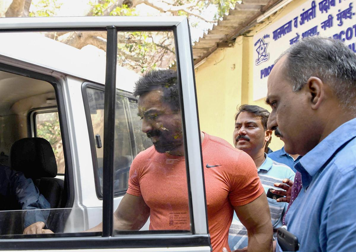 Bollywood actor Ajaz Khan arrested by Anti Narcotics Cell of Navi Mumbai Police at CBD Belapur on Tuesday. PTI photo
