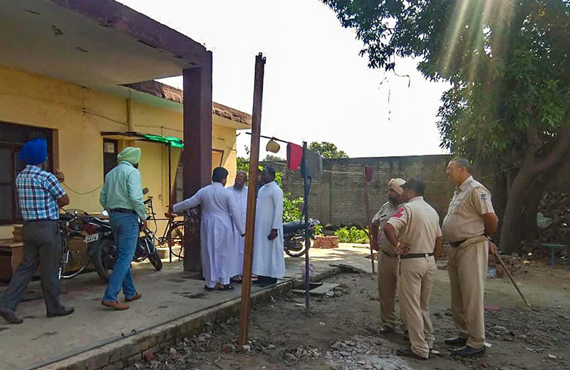 Police investigate at St. Mary's Church after Father Kuriakose Kattuthara, a witness in the case against Bishop Franco Mulakkal, was found dead, in Dasuya, Jalandhar. (PTI Photo)