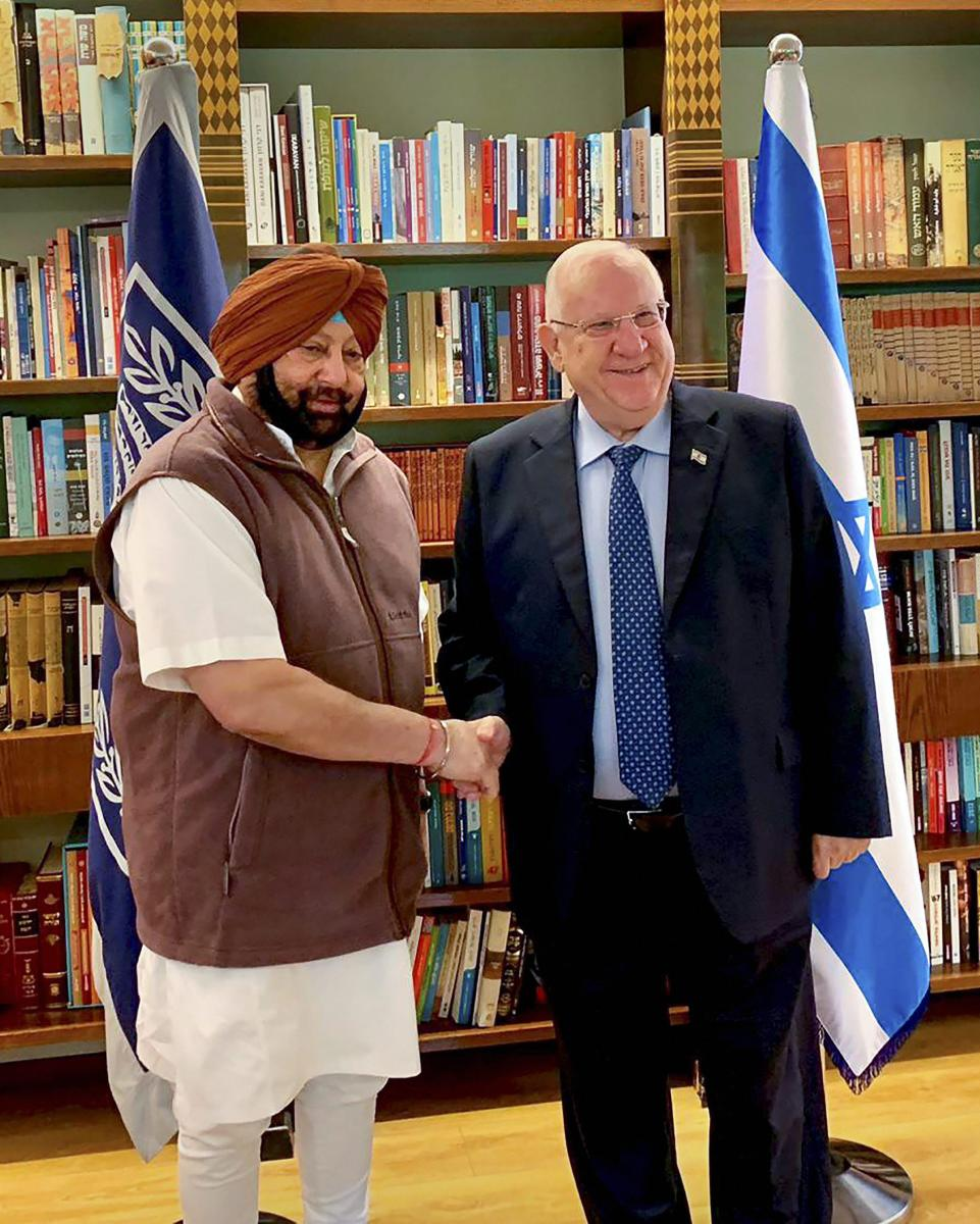 Punjab Chief Minister Captain Amarinder Singh meets Israeli President Reuven Rivlin at his official residence in Jerusalem, on Tuesday. PTI