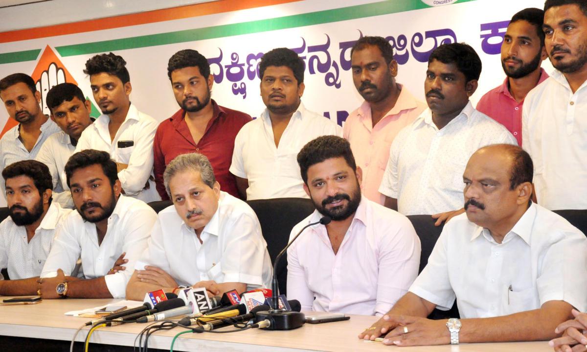 Dakshina Kannada District Youth Congress president Mithun Rai speaks to reporters at the DCC office at Mallikatta in Mangaluru on Thursday.