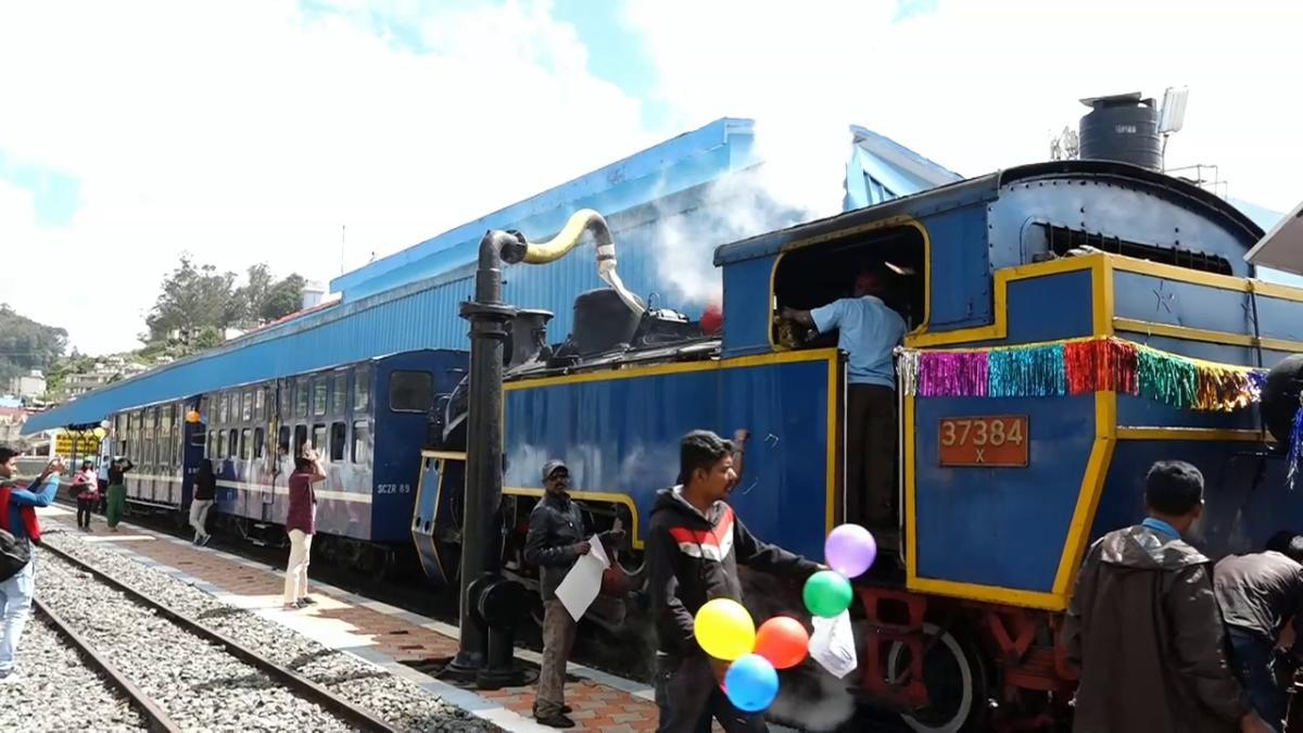 The vintage coal-powered locomotive ready for its joy ride at the Ooty station on Tuesday. DH Photo