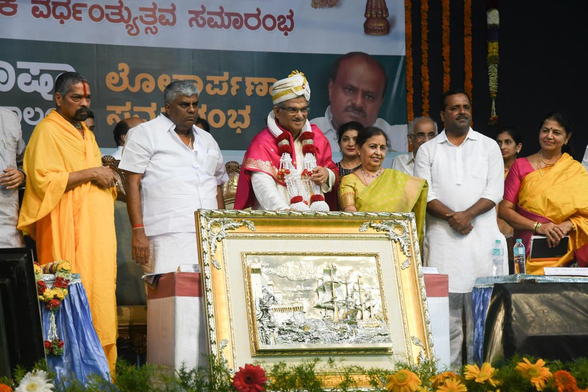 Sri Kshetra Dharmasthala Dharmadhikari D Veerendra Heggade being felicitated to mark the 50th year of his ascension to the Dharmadhikari Peetha at Dharmasthala on Wednesday.