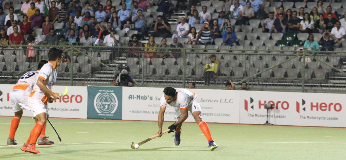 Harmanpreet about to fire in a goal against South Korea.