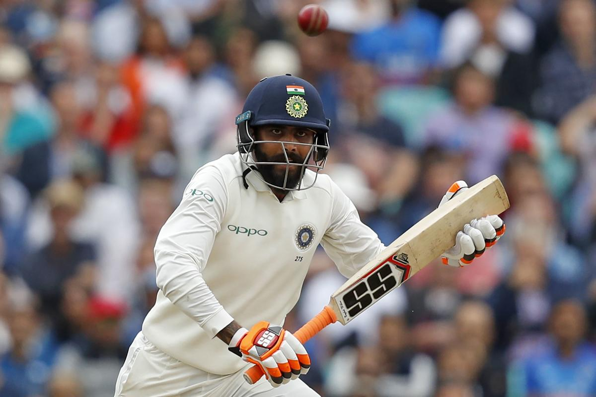 India's Ravindra Jadeja en route his unbeaten 86 against England during the second day's play of the fifth Test. AFP