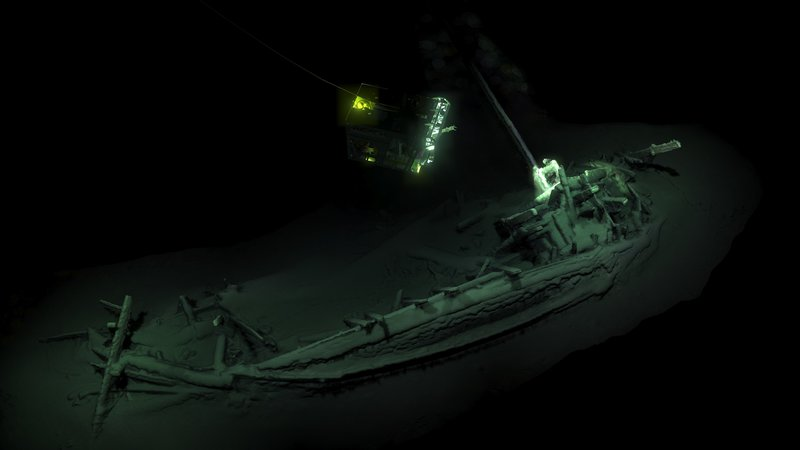 The Black Sea Maritime Archaeology Project says the intact shipwreck was discovered at a depth of more than one mile, where the scarcity of oxygen helped preserve the ancient vessel. Credit: Black Sea MAP/EEF Expeditions
