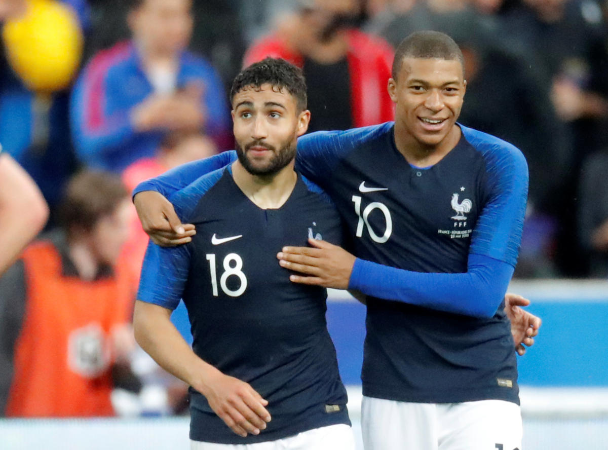 France's Nabil Fekir (left) celebrates scoring their second goal with Kylian Mbappe. REUTERS