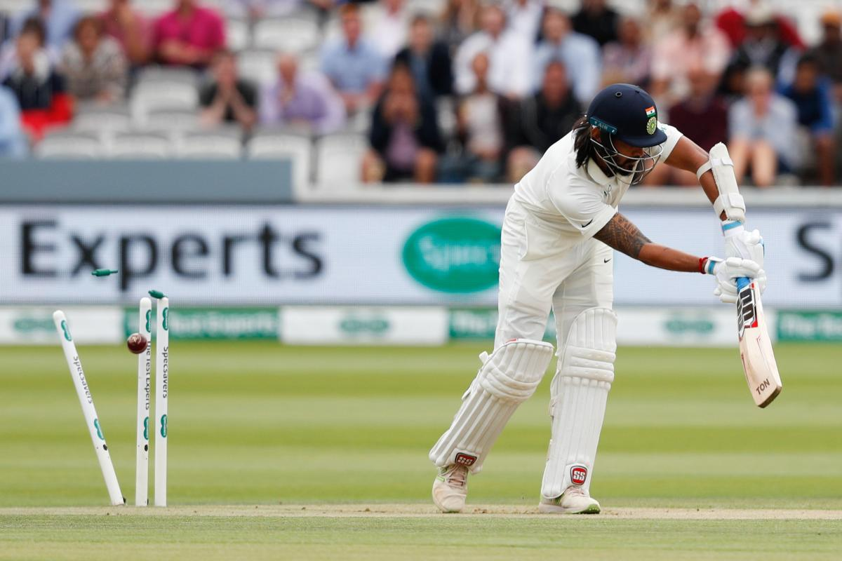 Opener M Vijay is cleaned up by England's James Anderson on the second day of the second Test at Lord's in London on Friday. AFP