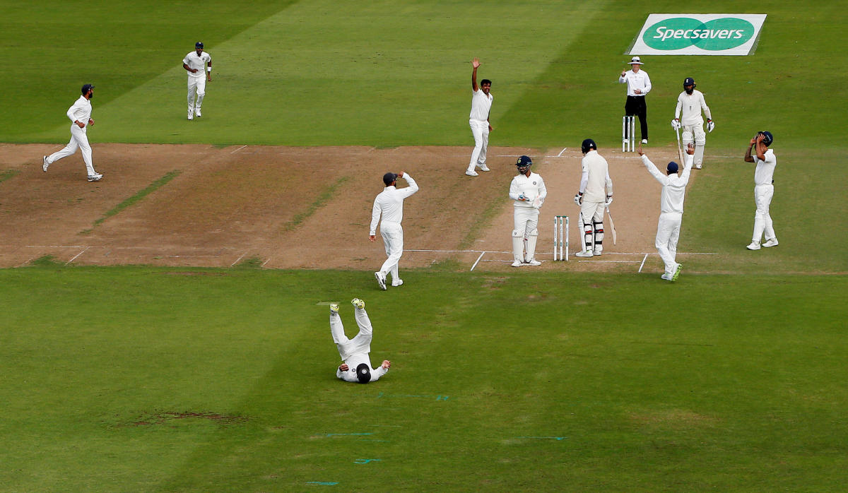 THE FINAL ONE: Ajinkya Rahane takes a catch to dismiss England's James Anderson, signalling India's victory in the third Test on Wednesday. Reuters