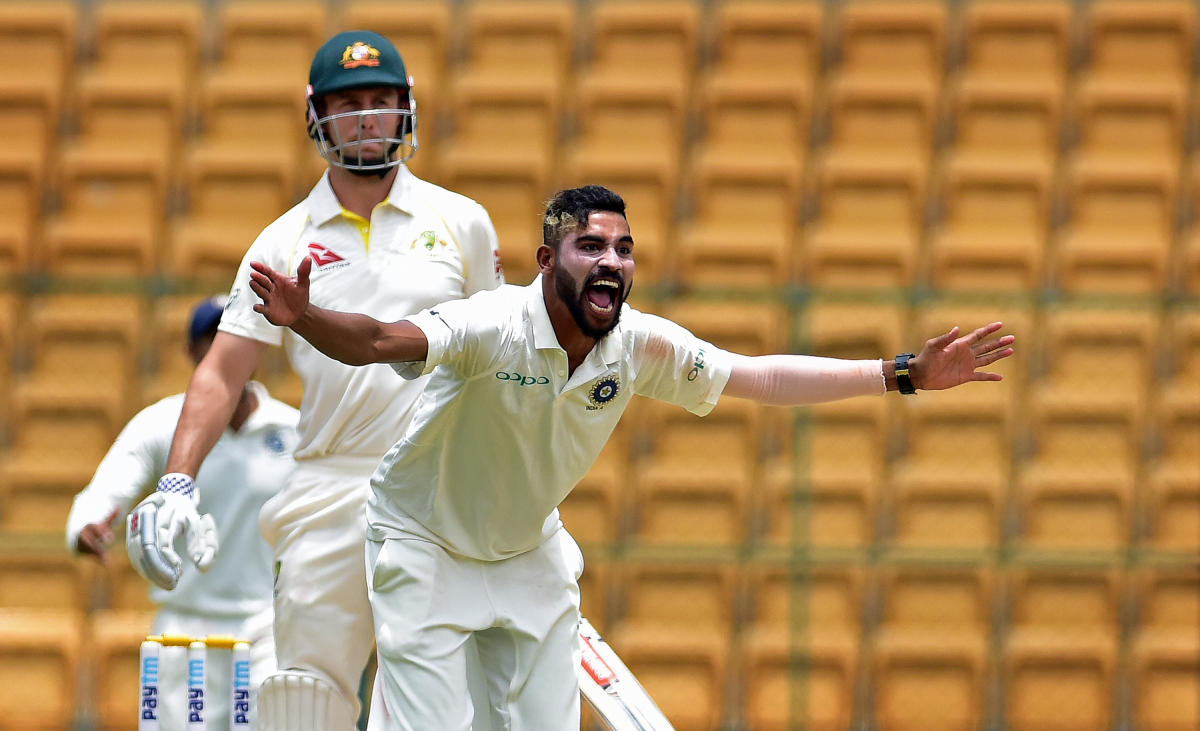RED-HOT Mohammed Siraj of India 'A' successfully appeals for a leg before wicket during the opening day of the four-day game against Australia 'A' in Bengaluru. DH PHOTO/RANJU P