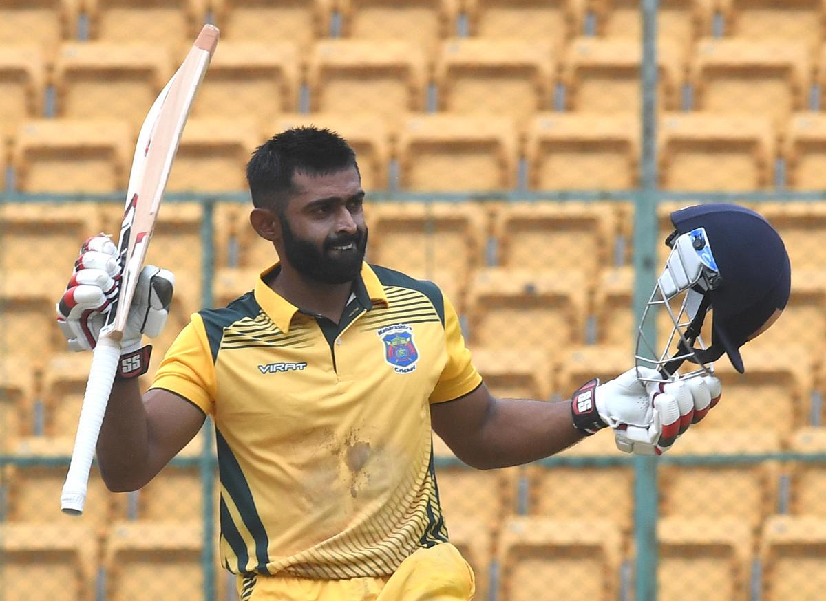 TIMELY: Ankit Bnwne of Maharastra celebrates after his century against Karnataka in the Vijay Hazare Trophy match in Bengaluru on Thursday. DH Photo/Srikanta Sharma R