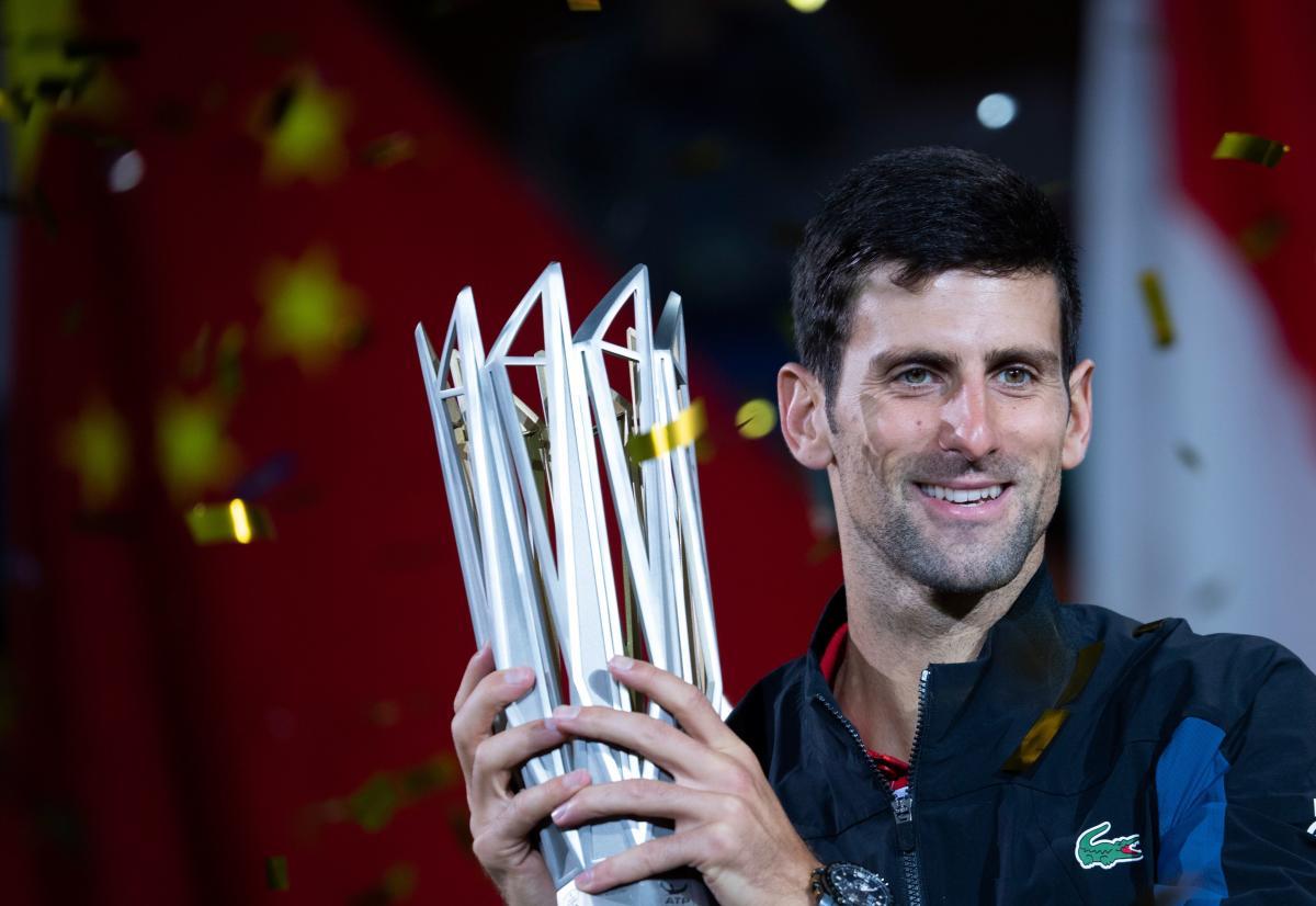 Novak Djokovic with the trophy.