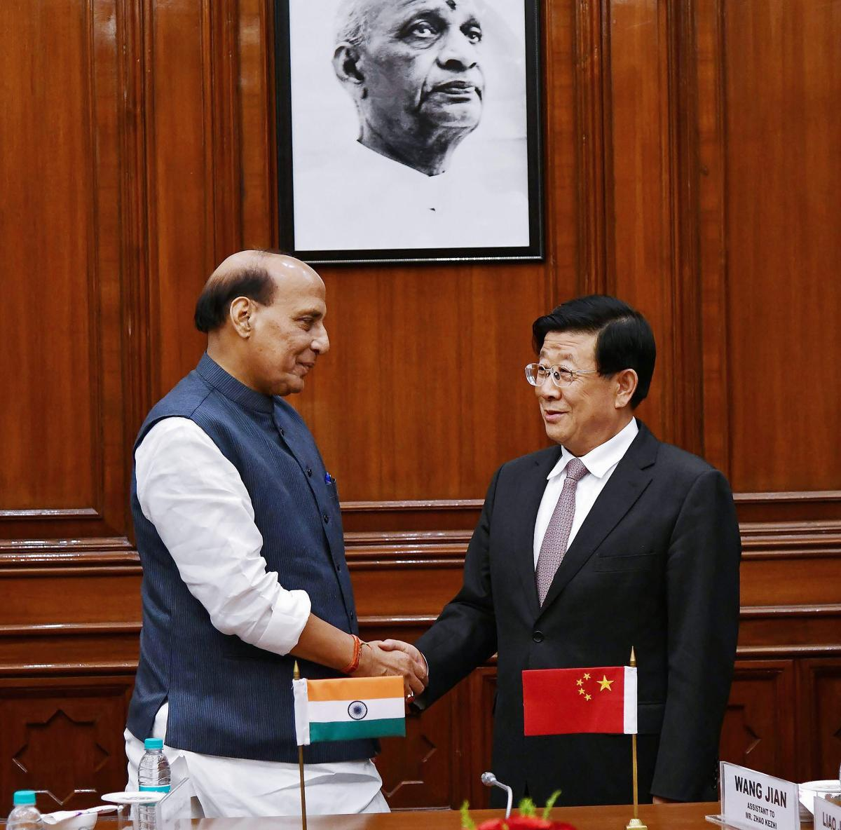 Union Home Minister Rajnath Singh with Chinese State Councillor and Minister for Public Security Zhao Kezhi, in New Delhi on Monday. PTI