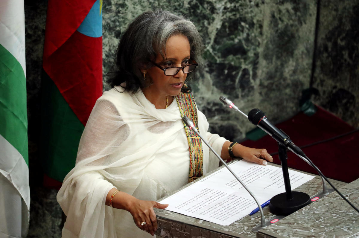 Newly elected President Sahle-Work Zewde addresses the House of Peoples' Representatives in Addis Ababa, Ethiopia October 25, 2018. REUTERS/Tiksa Negeri