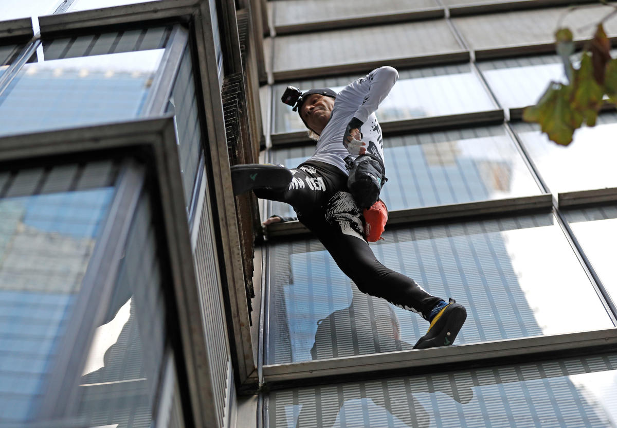 French free-climber Alain Robert, known as 'Spiderman', attempts to climb up the outside of the Heron Tower in the financial district of London, Britain, October 25, 2018. REUTERS/Peter Nicholls