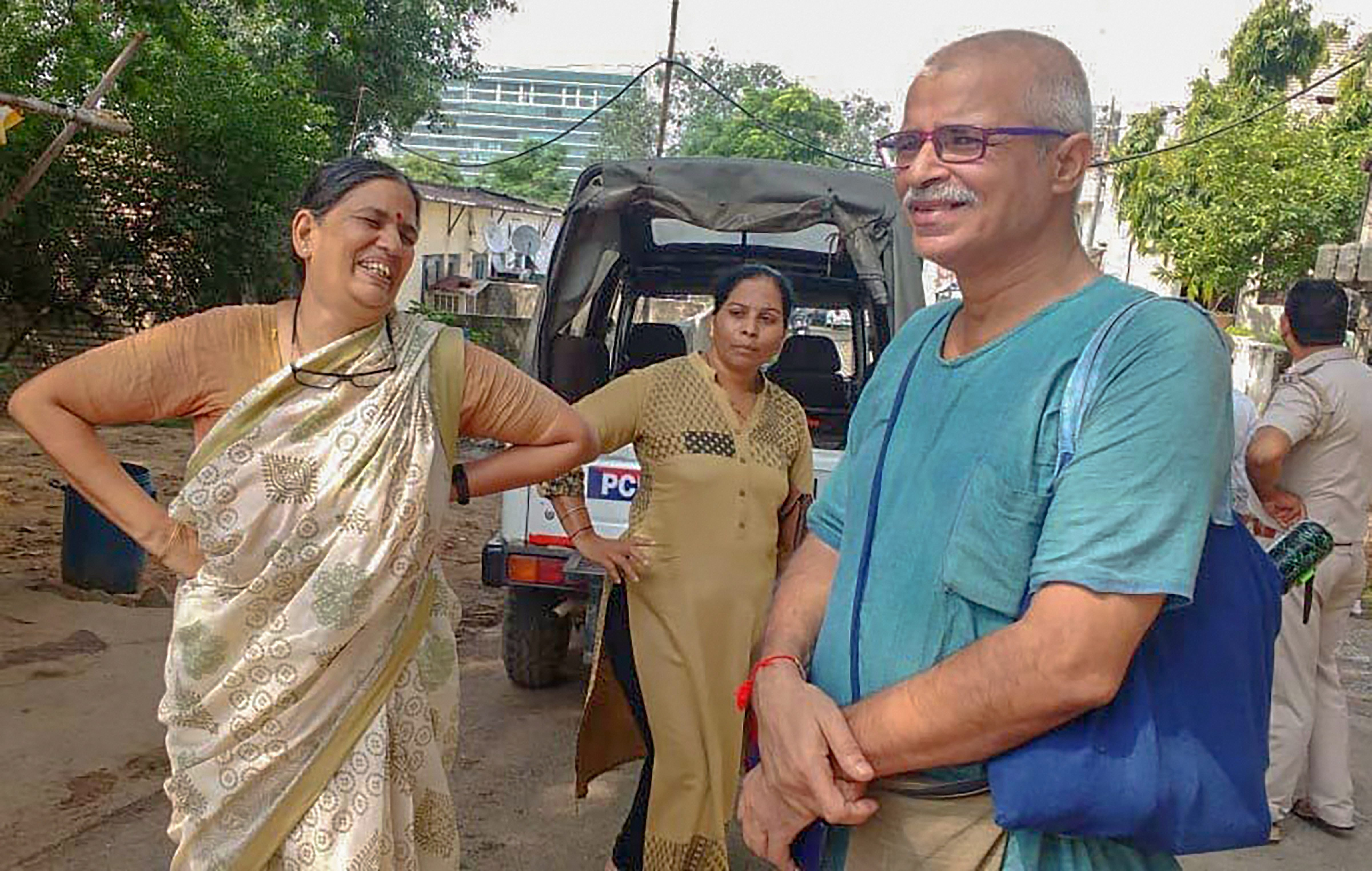 Human rights advocate Sudha Bharadwaj (L) after she was arrested by the Pune police in connection with the Bhima Koregaon violence, in Faridabad on August 28, 2018. PTI file photo