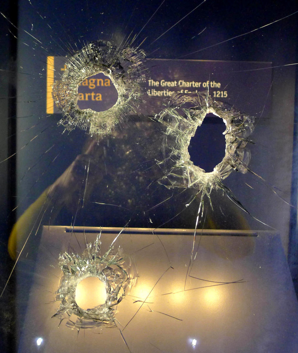 Damage can be seen to the display case that held the Salisbury Magna Carta, one of the original four remaining Magna Carta documents, at Salisbury Cathedral in Salisbury. Reuters photo