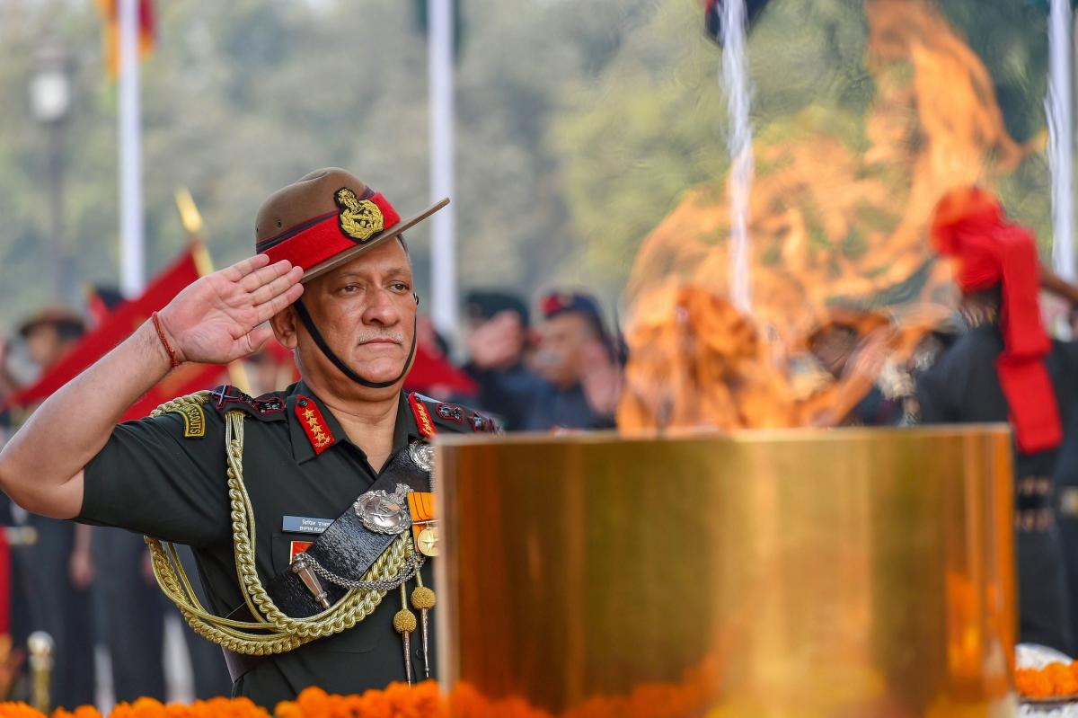 Chief of Army Staff, General Bipin Rawat pays homage to the Martyrs, on the occasion of Infantry Day, at the Amar Jawan Jyoti, India Gate in New Delhi Saturday, Oct 27, 2018. PTI Photo