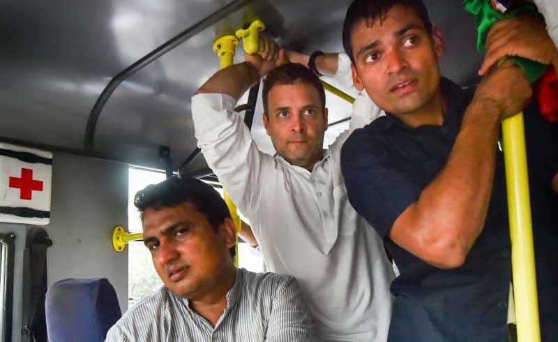 Congress President Rahul Gandhi and senior party leaders are taken in a police bus after they courted arrest during a protest demanding the reinstatement of CBI Director Alok Verma outside the CBI headquarters, in New Delhi, Friday, Oct 26, 2018. (PTI Photo/Arun Sharma)